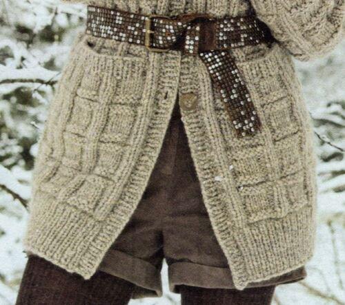 Knitting Pattern Lady/'s Bulky//12 Ply Basket Stitch Jacket//Cardigan M//L 152