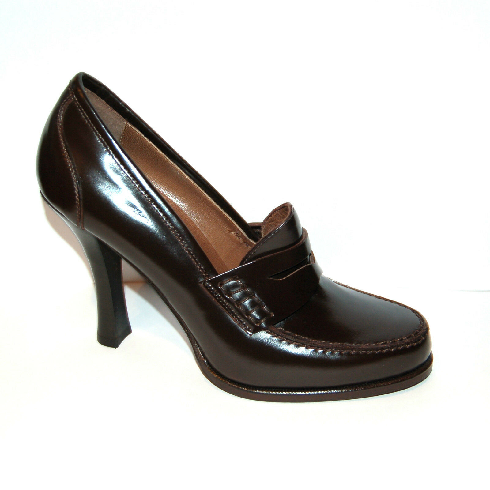 WOMEN - 38 - HEAD BROWN  CALF PENNY LOAFER PUMP - H.HEEL 10cm - LEATHER SOLE
