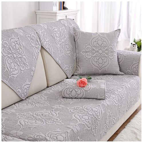 1-4 Seat Sofa Slipcover Quilted Embroidery Couch Cover Washable Mattress Towel