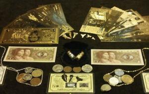 HUGE-43Pc.LOT~<wbr/>SILVER +5 U.S&7EURO GOLD BANKNOTES/SHAR<wbr/>K.TEETH/COINS MUCH MORE fz