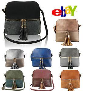 New UK Women s Tassel Zip Cross Body Messenger Hand Bag Small ... 5d3b3c4a51b88
