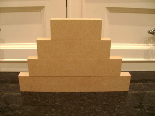 1 x Sets of 4 Stackers Mdf Free Standing Blocks 18mm wooden plaques