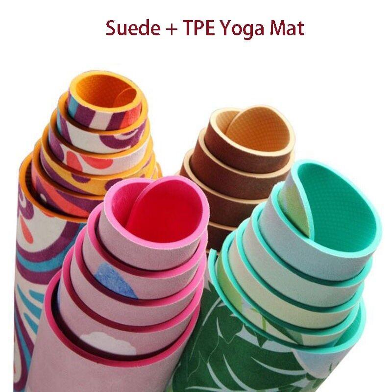 5mm Lotus Lotus Lotus Pattern Suede TPE Yoga Mat Non Slip Fitness Pilates Equipment Gym Mats 6efd4f