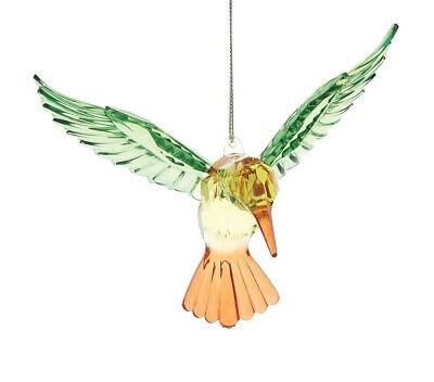 "GALLERIE II 5/"" ACRYLIC CRYSTAL FACETED HUMMINGBIRD CHRISTMAS ORNAMENT"