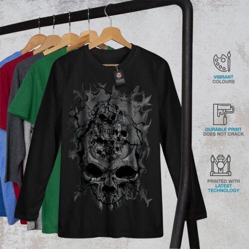 La MORTE TESCHIO MALVAGIO SKELET Uomo Manica Lunga T-shirt Nuovewellcoda