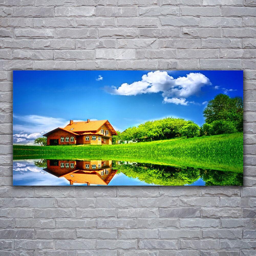 Photo sur toile Tableau Image Impression 120x60 Nature Maison Lac Herbe