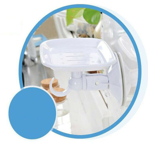 Suction Cup Plastic Wall Soap Dish Basket Holder Drawer with Hook for Bathroom S