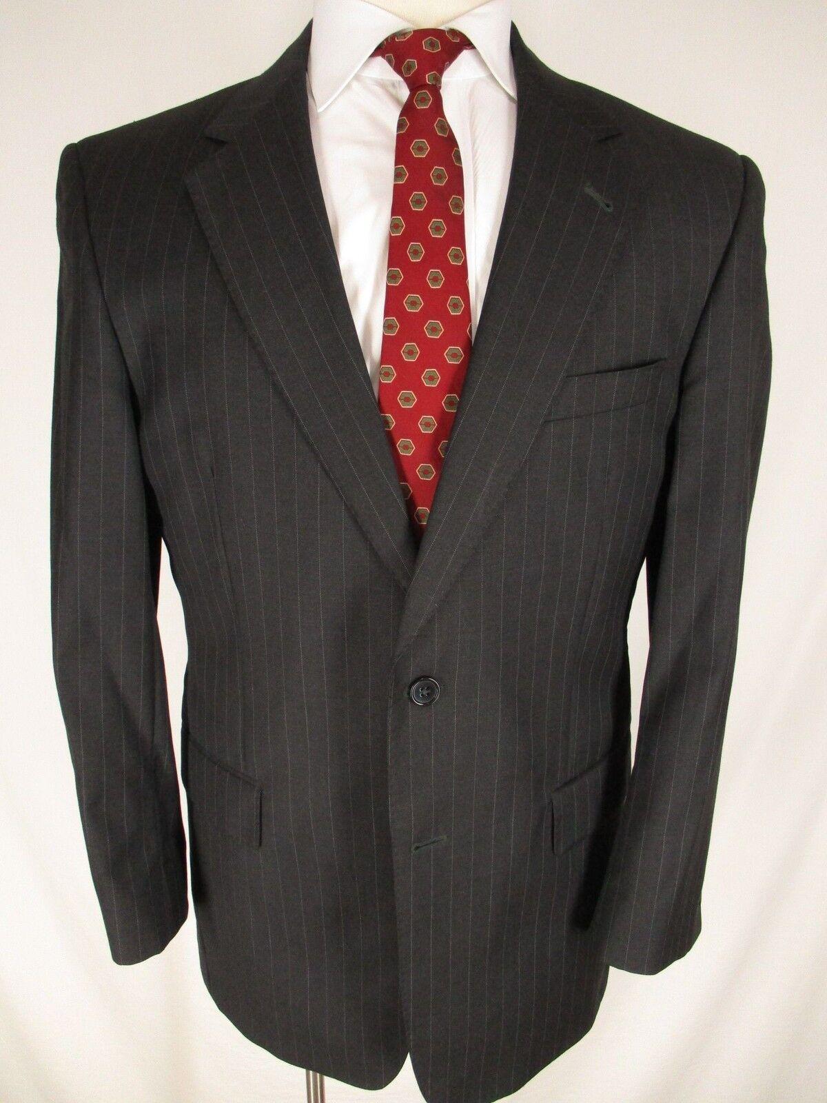 Jos A Bank Signature Gold  Herren Charcoal Stripe 2 Btn Suit 40R