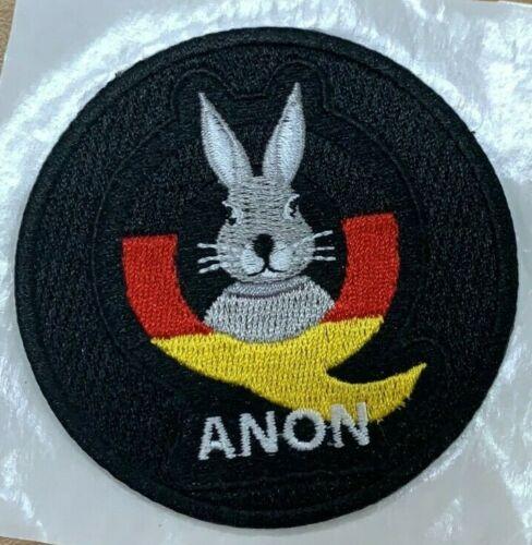 "Q Anon 3/"" Patch Follow the white Rabbit German Flag Qanon Hard Hook Tactical"