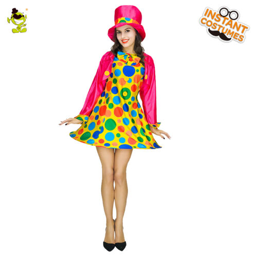 Showgirl Costume Colorful Burlesque Girl Costume Clown Circus Fancy Dress
