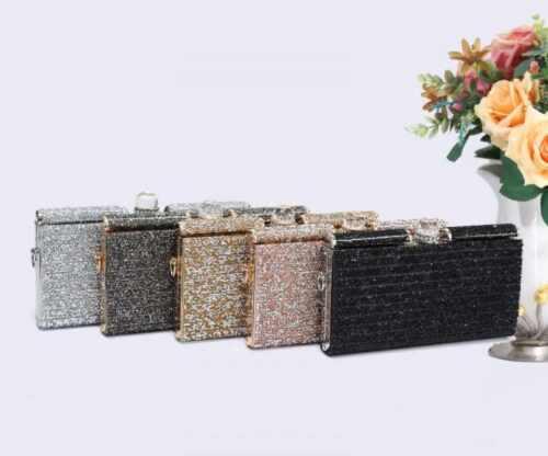 oro argento Prom Wedding rosa Flatten Nero Borsa oro Glitter Borsa Evening Donna Clutch Style diamante Party 6Oxq0