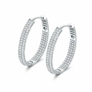 Rhodium Plated Cubic Zirconia Three-Row Inside-Out Oval Hoop Earrings