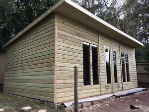 Details About 20x10ft Wooden Shedsummerhouse Garden Home Studio Pent With 2ft Overhang