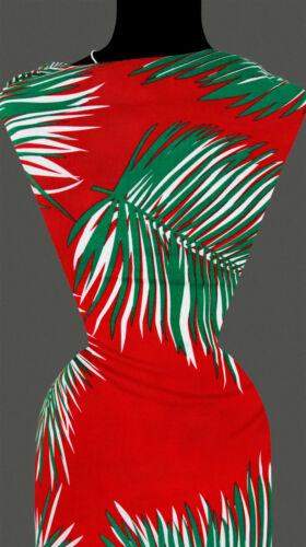 feuilles loin Palme Nature Motif Rouge 50 cm tissu viscose 10,20 €//M