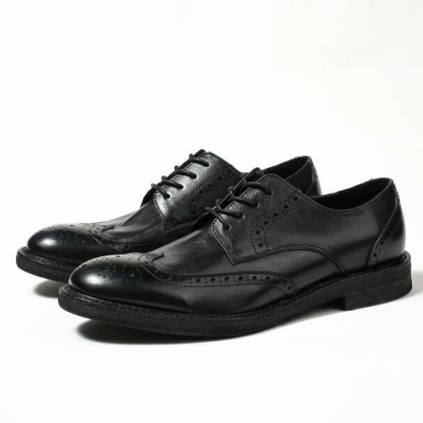 Brogue Herrenschuhe Retro Echtleder Formell Business-Schuhe Perforiert Hochzeit