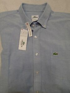 Lacoste-100-Cotton-Oxford-Cloth-Solid-Blue-Sport-Shirt-NWT-Large-Tall-98