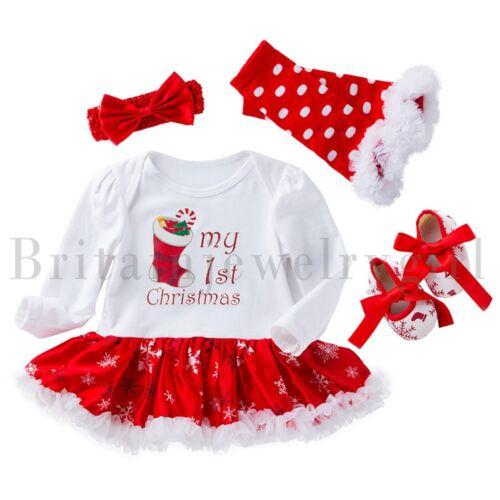 4pcs Baby Girls Newborn 1st Christmas Holiday Costume Outfits Tutu Dress Set