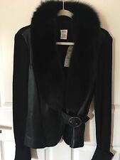CACHE BLACK LEATHER WITH REMOVABLE FOX COLLAR SWEATER JACKET NWT NEW $328 SIZE L