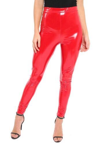 Women Ladies Vinyl PVC High Waisted Wet Look Skirt Legging Pant Party Fashion