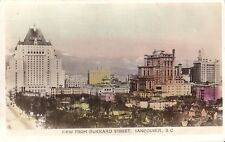 View from Burrard Street Vancouver BC - Colored Real Photo RPPC - 1945 - Chinese