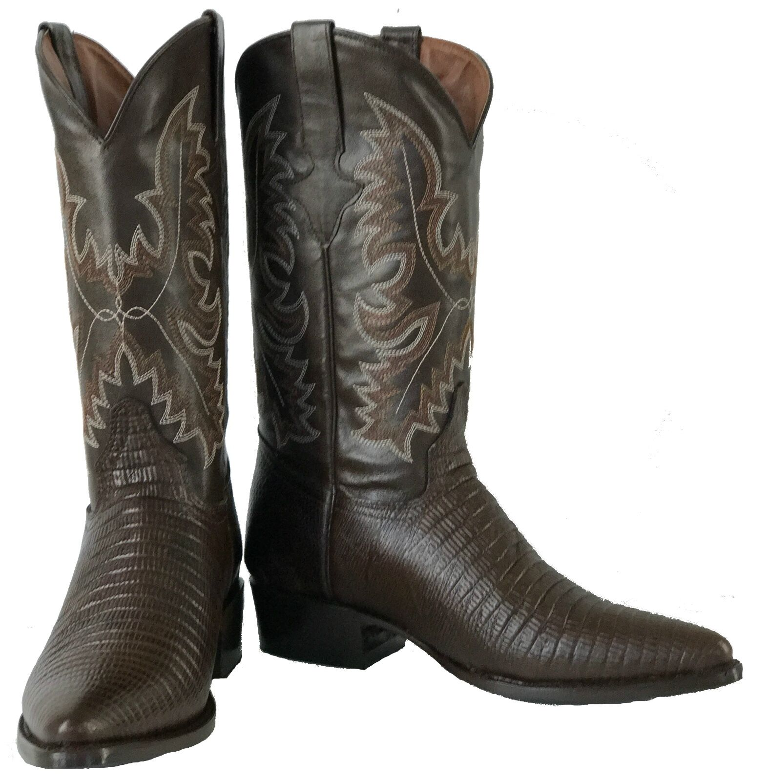 Men's New Exotic Lizard Design Leather Cowboy Western Rodeo Boots Brown J Toe