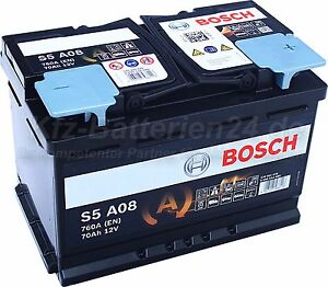 original bosch s5a08 agm start stop 12 v 70ah prix incl 7. Black Bedroom Furniture Sets. Home Design Ideas