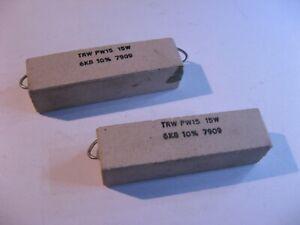 TRW-PW15-Ceramic-Cement-6800-Ohm-6-8K-6K8-10-15W-Resistors-High-Power-NOS-Qty-2