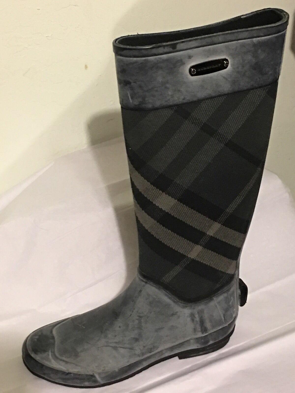 Burberry Gray Rain  Clemence Check  Rain Gray Stiefel Sz 37 76687b
