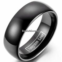 8mm Tungsten Carbide BLACK Wedding Band Men's Women's Engagement Bridal Ring