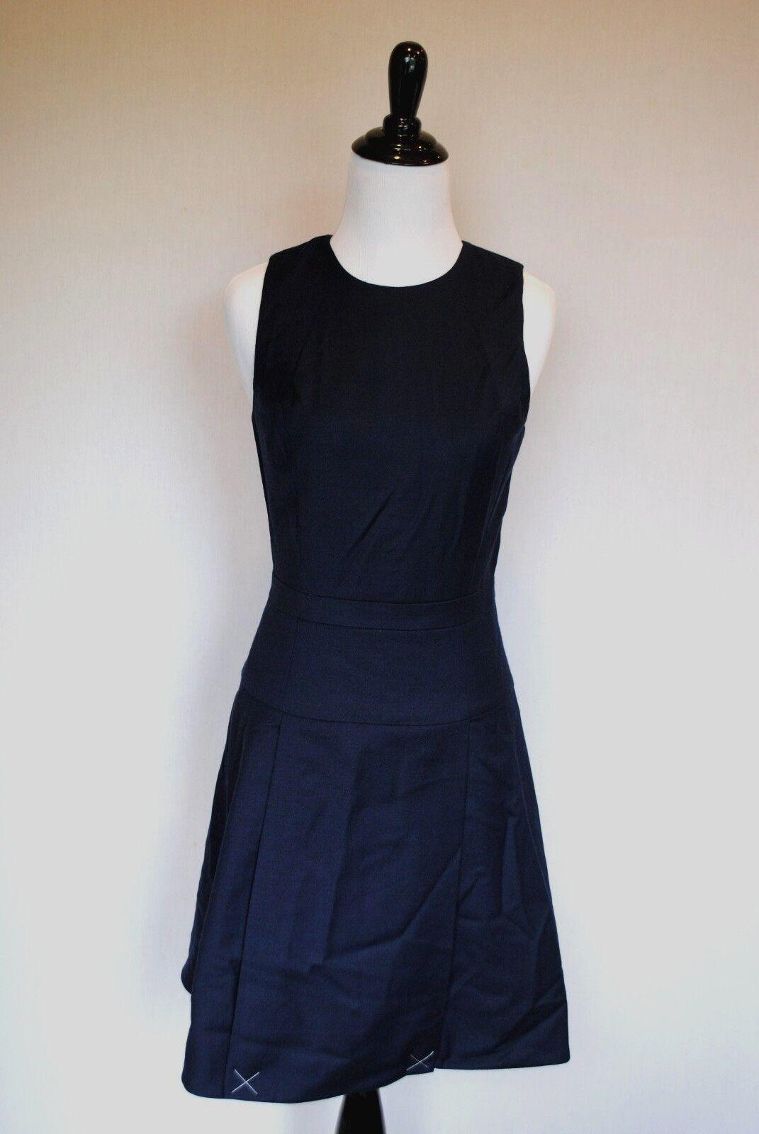 NWT J Crew Pleated Stretch Flannel Dress in Heather Indigo 0 Extra Small