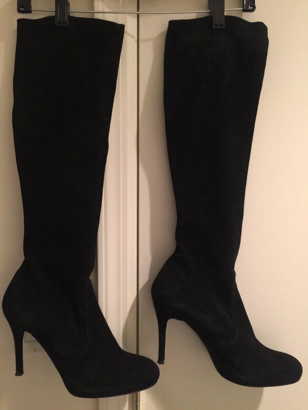 Stuart Weitzman, over the knee, black suede boots, size 11B, mint condition