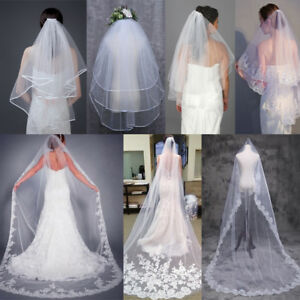 2T-3M-Sequins-Beaded-Flower-Edge-Wedding-Bridal-Elbow-Veil-Long-Veils-with-Comb