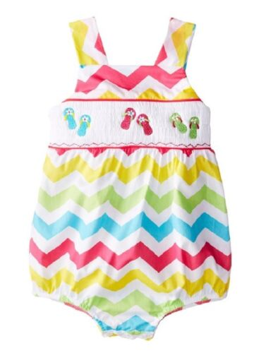 Jumping Fences by Rare Editions Chevron Ruffled Romper w// Beach Theme Smocking