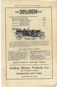 Details about 1910 Selden Torpedo Tonneau Touring Car Ad looking for new  dealers/ Rochester NY