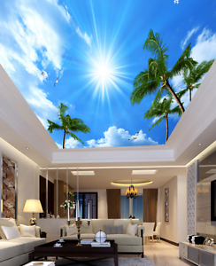 3D Sun Plam Trees 58 Ceiling WallPaper Murals Wall Print Decal AJ WALLPAPER US
