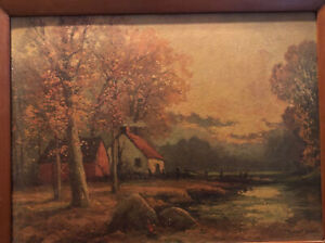Autumn-Sunset-By-Robert-Wood-Vintage-Framed-Art-Print-Reproduction