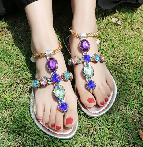 Womens colorful Rhinestones Sandal Flip Flops Flat Metal Chain Strappy shoes E56