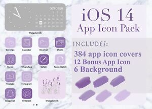 Purple Ios 14 Iphone App Icon Cover Pack Violet Aesthetic App Icons Ebay