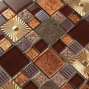 Details about Backsplash Tile Metallic Glass Red Kitchen Tiles Wall Mosaic  Metal Brown (11PCS)