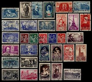 L-039-ANNEE-1939-Complete-Obliteres-Cote-147-Lot-Timbres-France-419-a-450