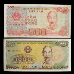 2 Vietnam Banknotes 1 X 500 1000 Dong 1988 Uncirculated Currency Ebay