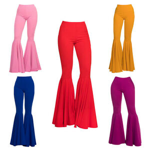 Ladies Summer Floral Stretchy Party Trouser Womens Flared Bell Bottom Legging