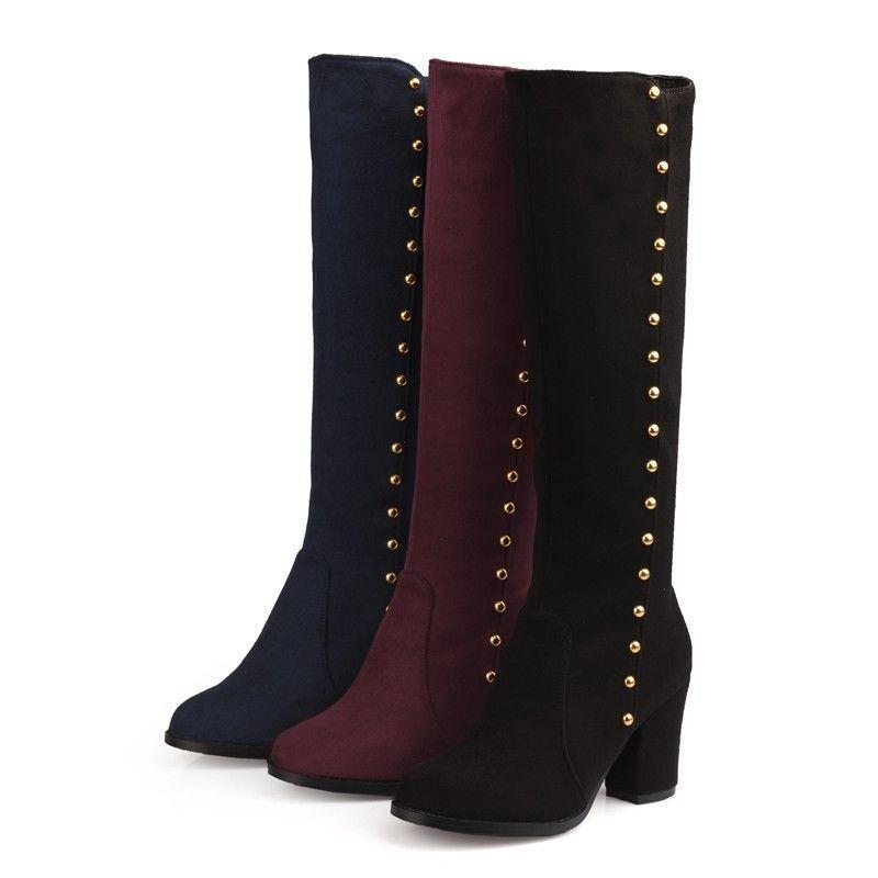 Womens Ladies Zip Up Shoes Faux Suede Block High Heel Knee High Boots Rivet Chic