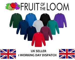 Fruit-of-the-Loom-Childrens-Round-Neck-Classic-Raglan-Sweatshirt-Kids-School-TOP