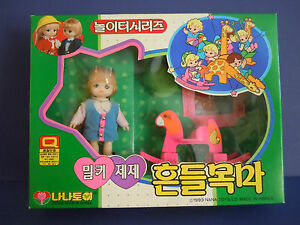 Super-Rare-VINTAGE-KIDDLE-LIKE-KOREAN-1993-NANA-Toys-Co-Doll-And-Accessories
