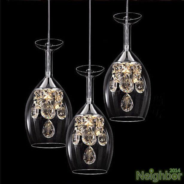 Modern Crystal Wine glass Pendant Light LED Chandelier Lamp Dining Room lighting