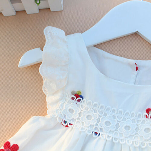 Summer Kid Baby Girl Dress Floral Strawberry Embroidery Princess Party Dresses