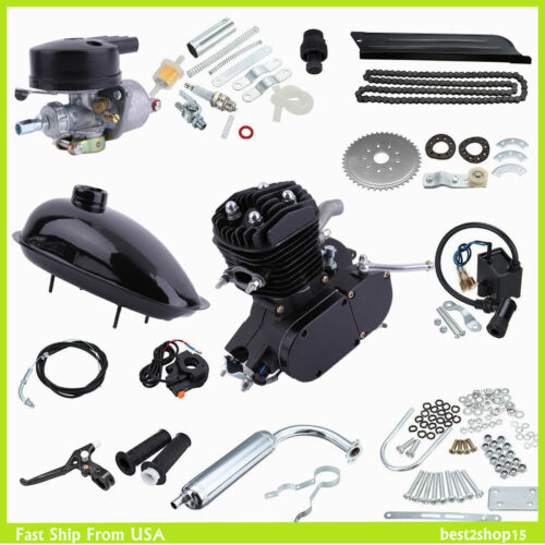 UPGRADED 80cc 2-Stroke Motor Engine Kit Gas for Motorized Bicycle Bike NEW Black