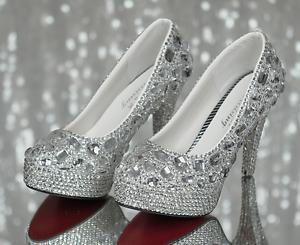 Image Is Loading Silver Rhinestone Crystal Diamond Wedding Shoes Bridal  High