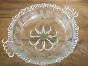 ANTIQUE-EAPG-PATTERN-GLASS-FROSTED-SERVICE-BOWL